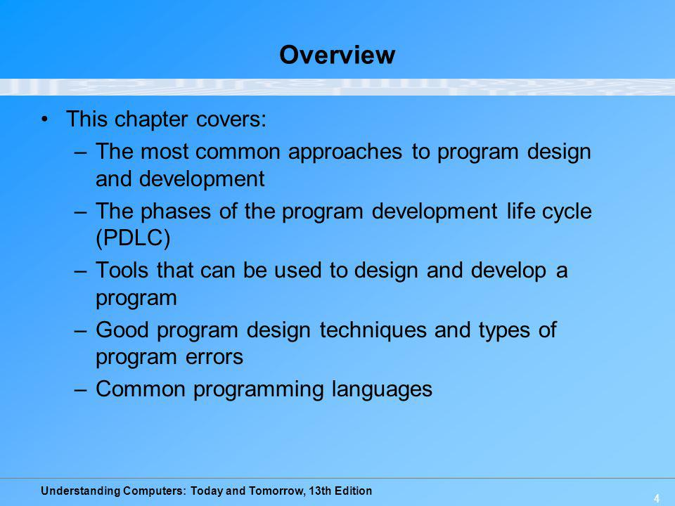 Understanding Computers: Today and Tomorrow, 13th Edition 25 The Program Development Life Cycle (PDLC) –Types of language translators: Compilers: Language translator that converts an entire program into machine language before executing it Interpreters: Translates one line of code at one time Assemblers: Convert assembly language programs into machine language