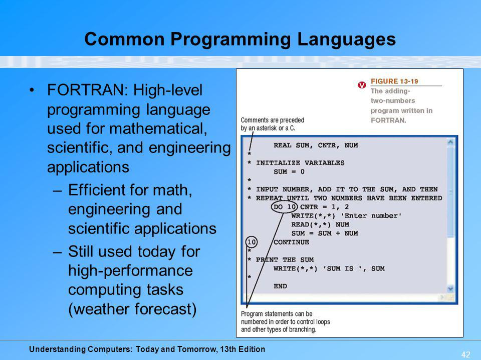 Understanding Computers: Today and Tomorrow, 13th Edition 42 Common Programming Languages FORTRAN: High-level programming language used for mathematic