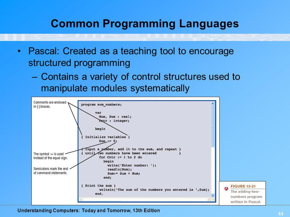 Understanding Computers: Today and Tomorrow, 13th Edition 44 Common Programming Languages Pascal: Created as a teaching tool to encourage structured p