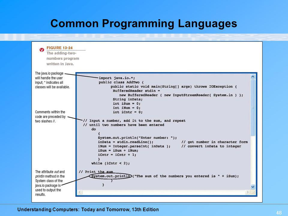 Understanding Computers: Today and Tomorrow, 13th Edition 48 Common Programming Languages