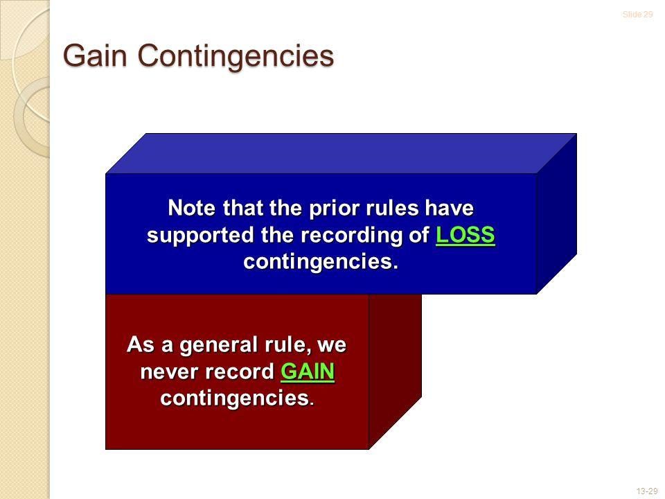 Slide 29 13-29 Gain Contingencies As a general rule, we never record GAIN contingencies.