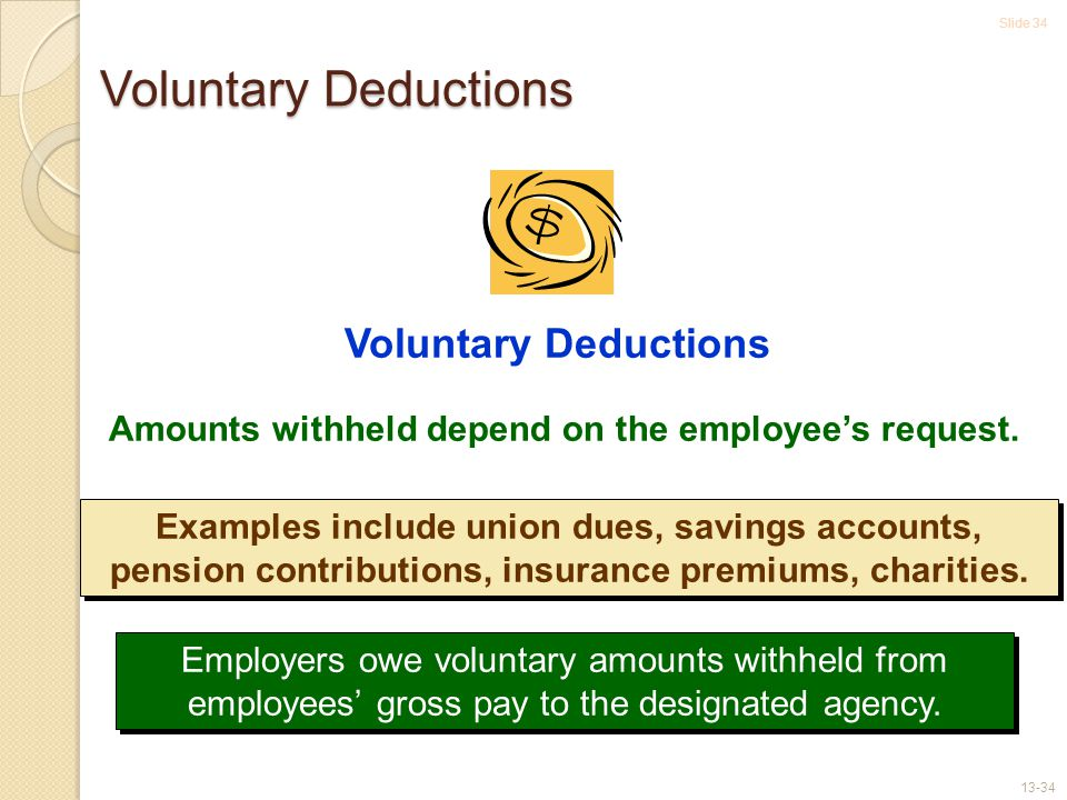Slide 34 13-34 Amounts withheld depend on the employee's request.