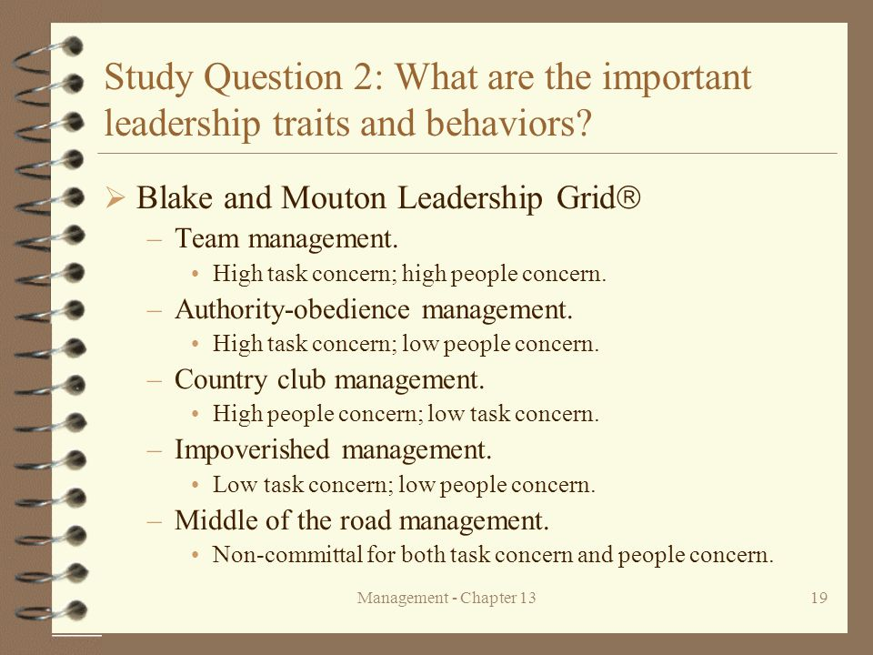 Management - Chapter 1319 Study Question 2: What are the important leadership traits and behaviors?  Blake and Mouton Leadership Grid  –Team managem
