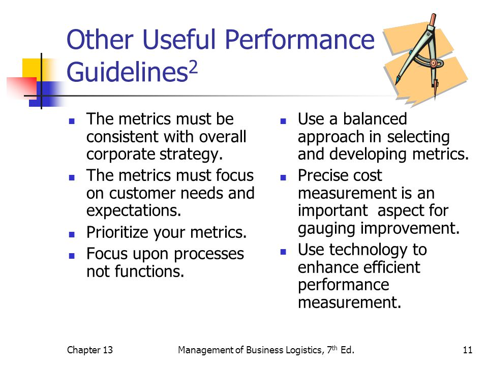 Chapter 13Management of Business Logistics, 7 th Ed.11 Other Useful Performance Guidelines 2 The metrics must be consistent with overall corporate str