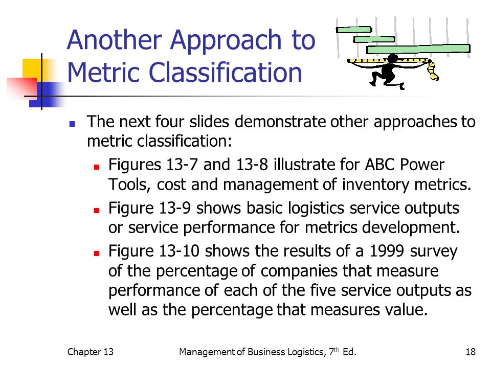 Chapter 13Management of Business Logistics, 7 th Ed.18 Another Approach to Metric Classification The next four slides demonstrate other approaches to