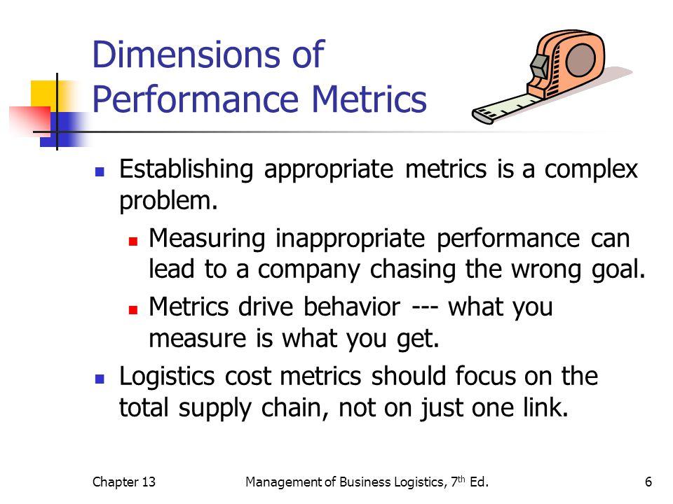 Chapter 13Management of Business Logistics, 7 th Ed.6 Dimensions of Performance Metrics Establishing appropriate metrics is a complex problem. Measuri
