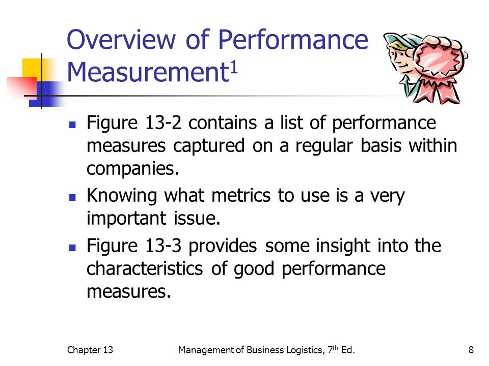 Chapter 13Management of Business Logistics, 7 th Ed.8 Overview of Performance Measurement 1 Figure 13-2 contains a list of performance measures captur