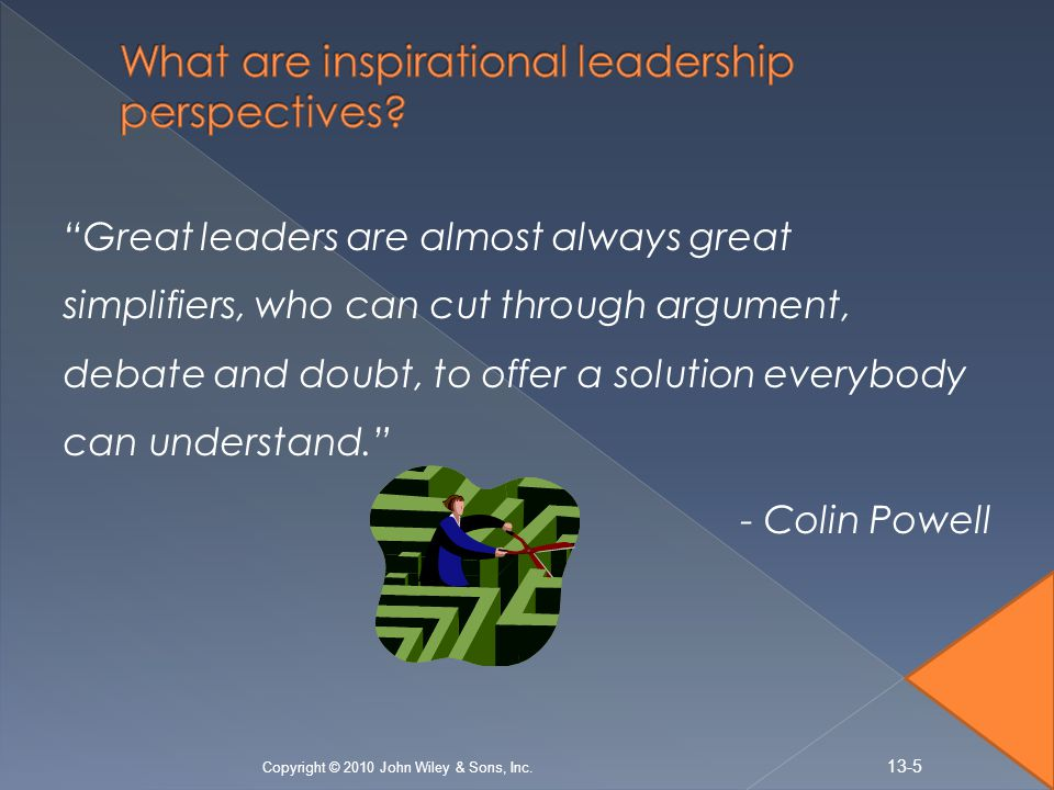 Great leaders are almost always great simplifiers, who can cut through argument, debate and doubt, to offer a solution everybody can understand. - Colin Powell Copyright © 2010 John Wiley & Sons, Inc.