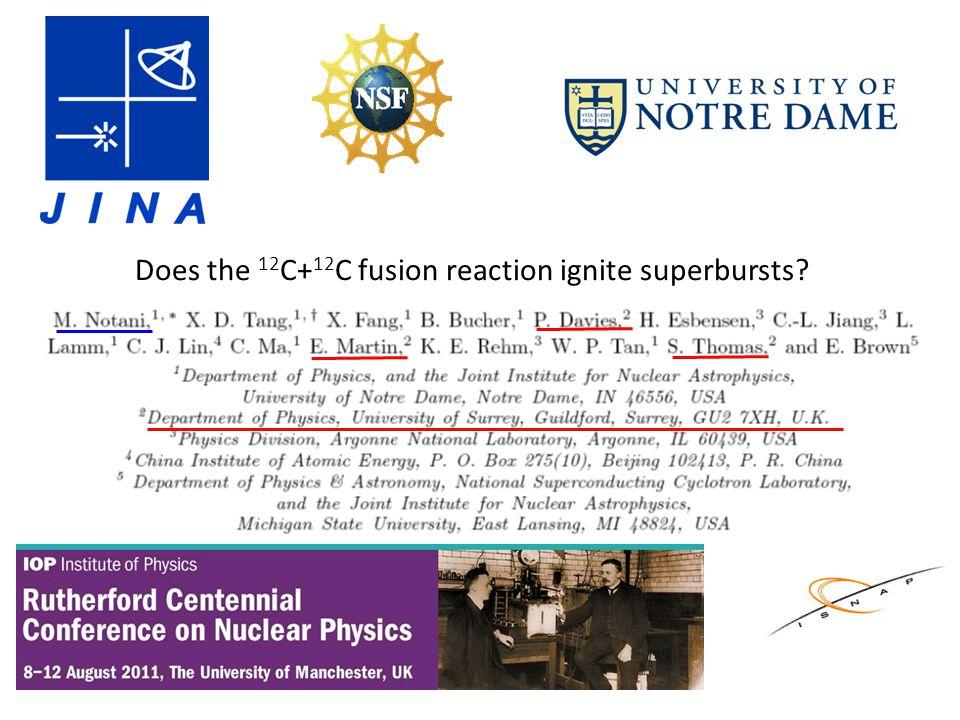 Does the 12 C+ 12 C fusion reaction ignite superbursts?