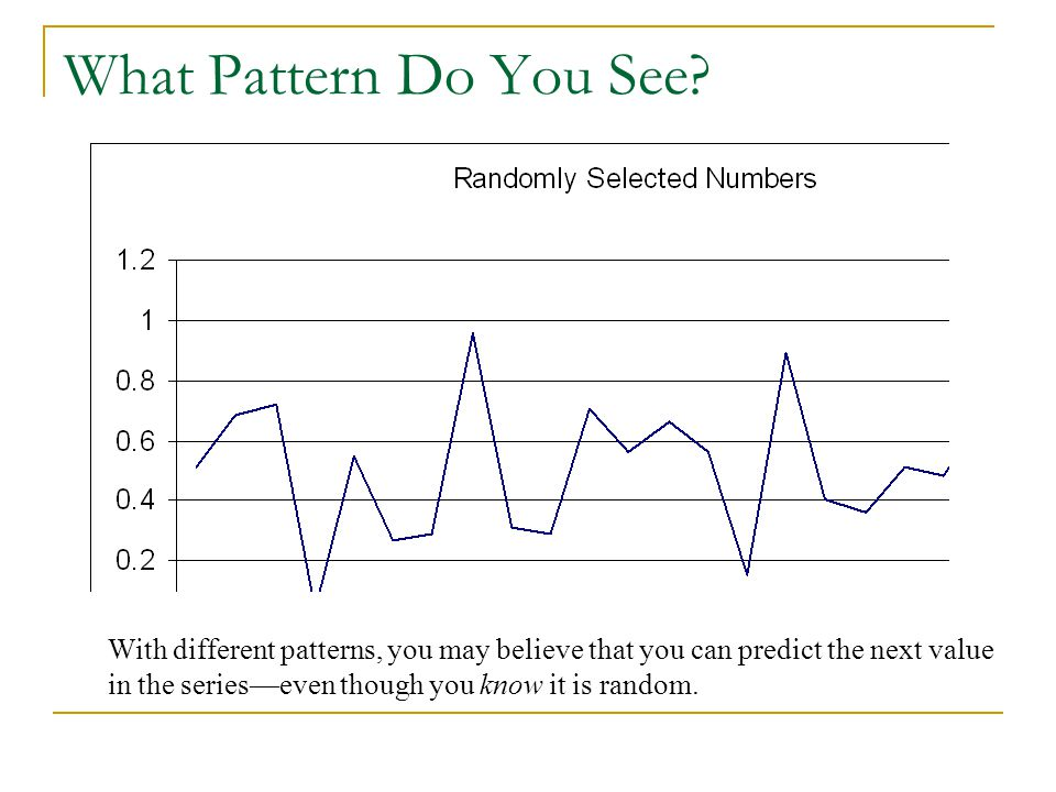 What Pattern Do You See? With different patterns, you may believe that you can predict the next value in the series—even though you know it is random.