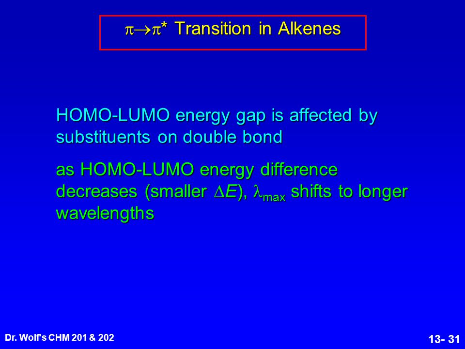 Dr. Wolf's CHM 201 & 202 13- 31  * Transition in Alkenes HOMO-LUMO energy gap is affected by substituents on double bond as HOMO-LUMO energy differ