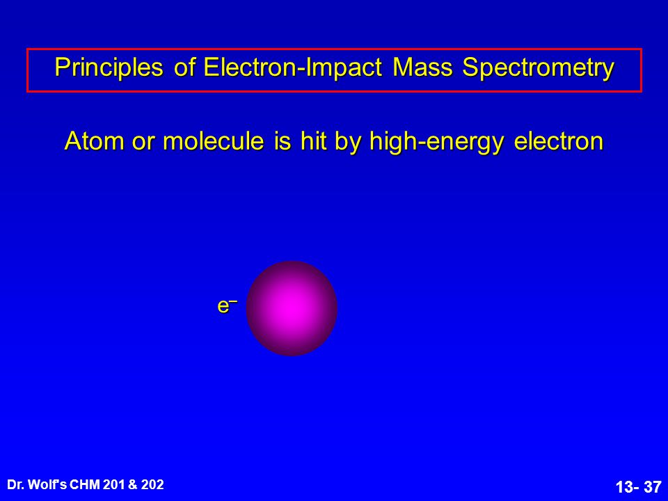 Dr. Wolf's CHM 201 & 202 13- 37 Atom or molecule is hit by high-energy electron Principles of Electron-Impact Mass Spectrometry e–e–e–e–