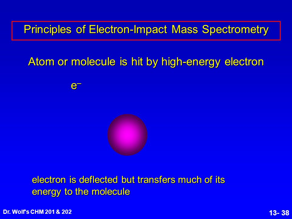 Dr. Wolf's CHM 201 & 202 13- 38 Atom or molecule is hit by high-energy electron electron is deflected but transfers much of its energy to the molecule