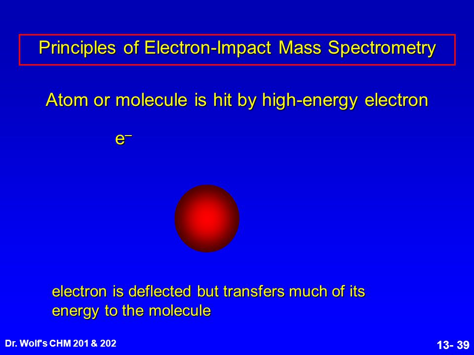 Dr. Wolf's CHM 201 & 202 13- 39 Atom or molecule is hit by high-energy electron electron is deflected but transfers much of its energy to the molecule