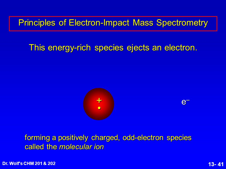 Dr. Wolf's CHM 201 & 202 13- 41 This energy-rich species ejects an electron. Principles of Electron-Impact Mass Spectrometry forming a positively char
