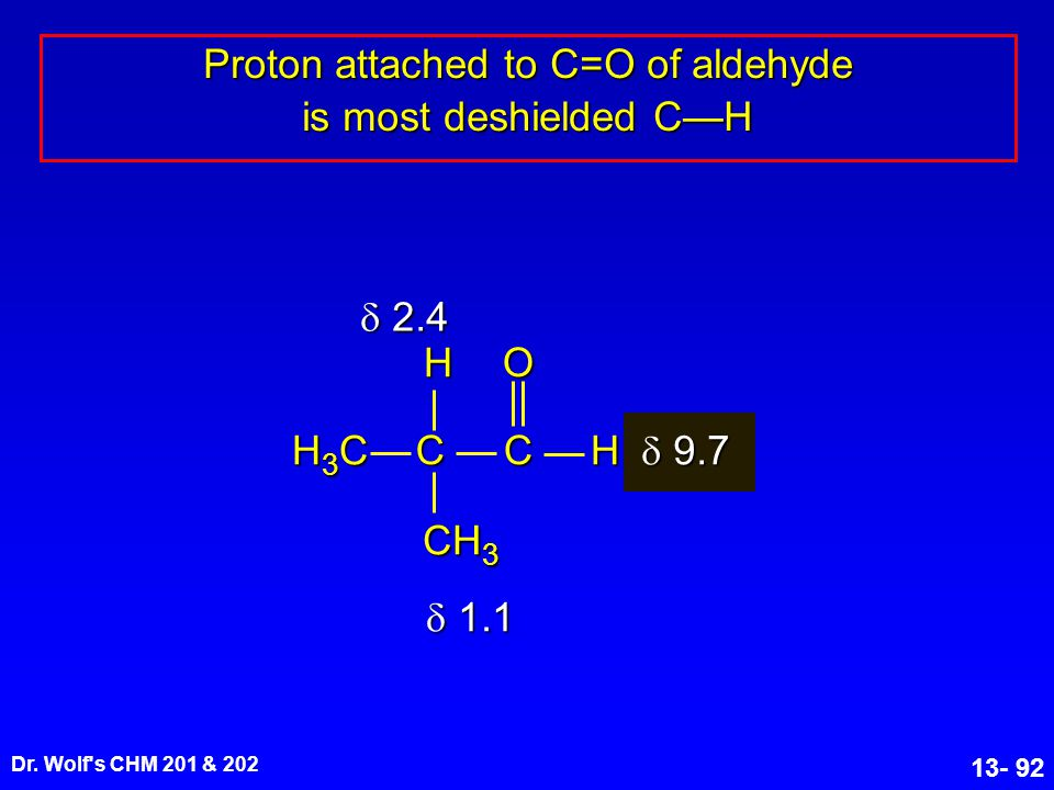 Dr. Wolf's CHM 201 & 202 13- 92 Proton attached to C=O of aldehyde is most deshielded C—H  2.4  9.7  1.1 CC O H H CH 3 H3CH3CH3CH3C