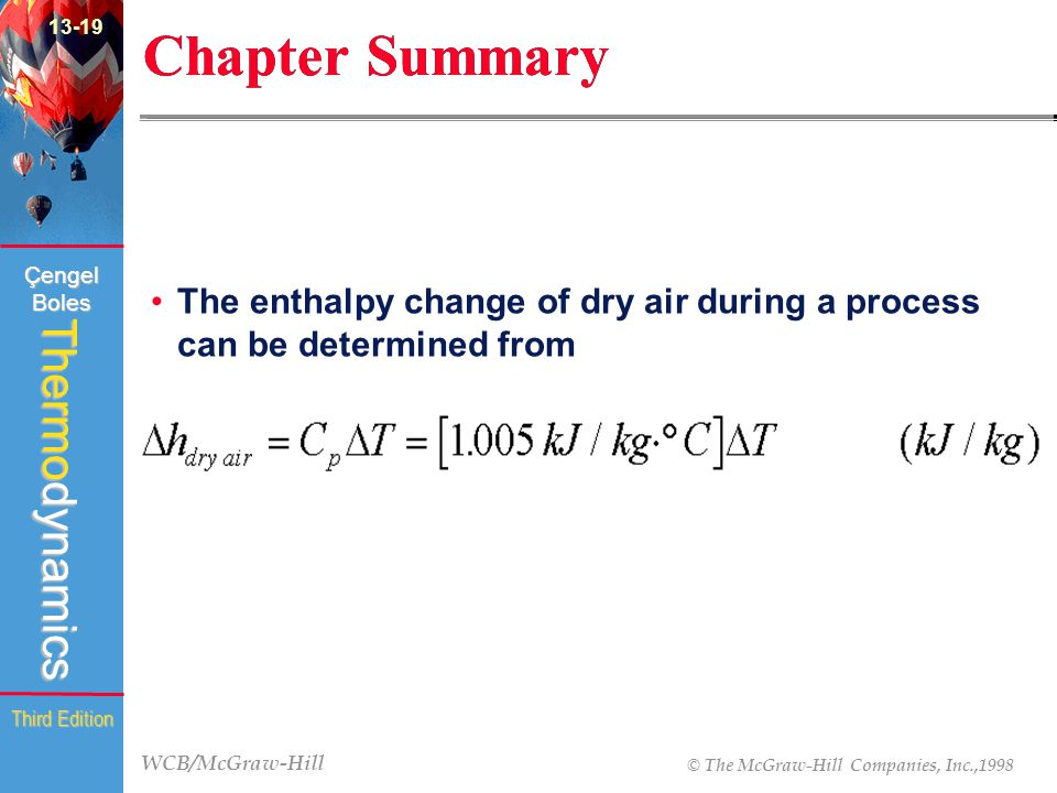WCB/McGraw-Hill © The McGraw-Hill Companies, Inc.,1998 Thermodynamics Çengel Boles Third Edition Chapter Summary The enthalpy change of dry air during a process can be determined from 13-19