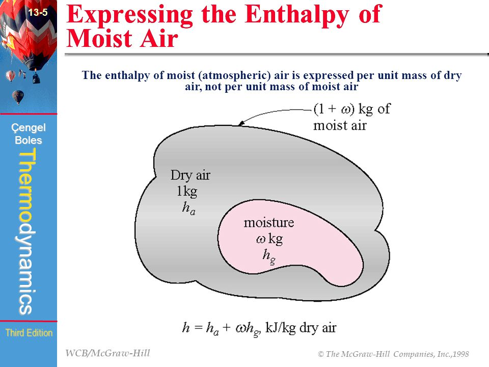 WCB/McGraw-Hill © The McGraw-Hill Companies, Inc.,1998 Thermodynamics Çengel Boles Third Edition Expressing the Enthalpy of Moist Air 13-5 The enthalpy of moist (atmospheric) air is expressed per unit mass of dry air, not per unit mass of moist air