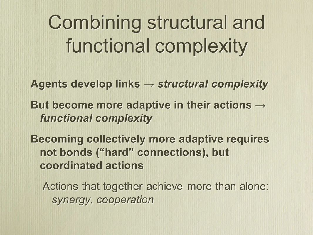 Combining structural and functional complexity Agents develop links → structural complexity But become more adaptive in their actions → functional com