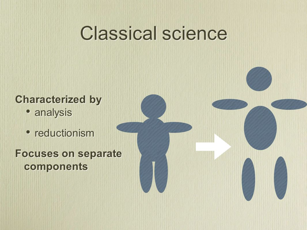 Characterized by analysis reductionism Focuses on separate components Characterized by analysis reductionism Focuses on separate components Classical science