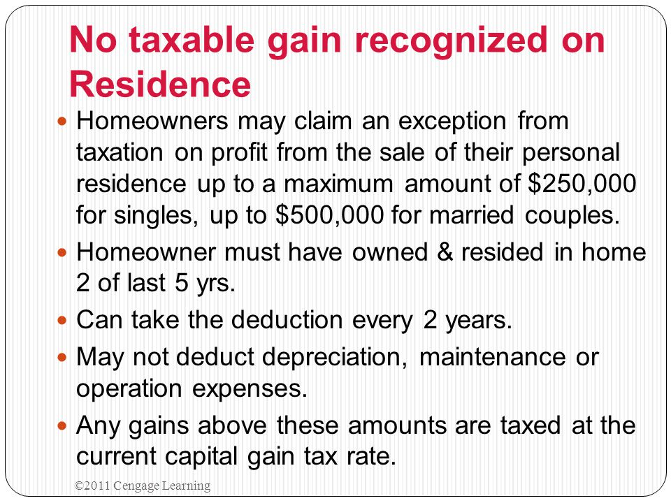 PERSONAL RESIDENCE Major Tax Advantages for Homeowners: 1.