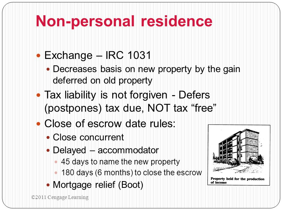 1031 Tax–Deferred Exchanges 1. Pay no taxes at time of equal exchange 2.
