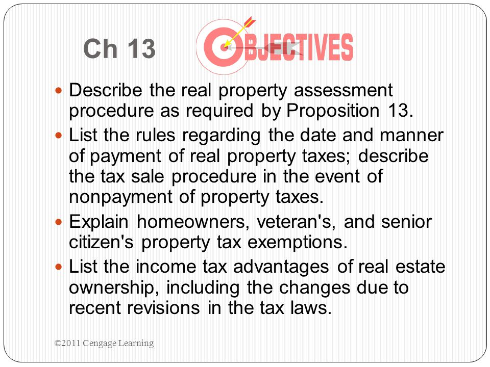 Chapter 13 Introduction to Taxation California Real Estate Principles ©2011 Cengage Learning