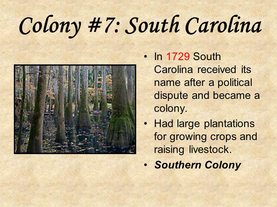 Colony #6: North Carolina Founded in 1663 by English nobles. Charter granted by Charles II. Charleston: main city was named after Charles II. Became v