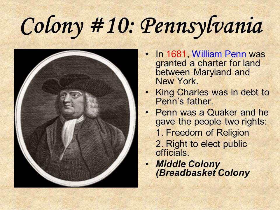 Colony #9: New Hampshire Sold to the king of England in 1679. Royal colony: king chooses governor and no elected government. New England Colony