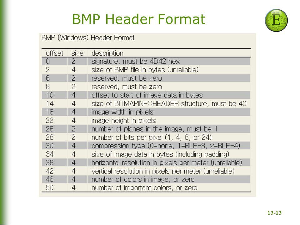 13-13 BMP Header Format