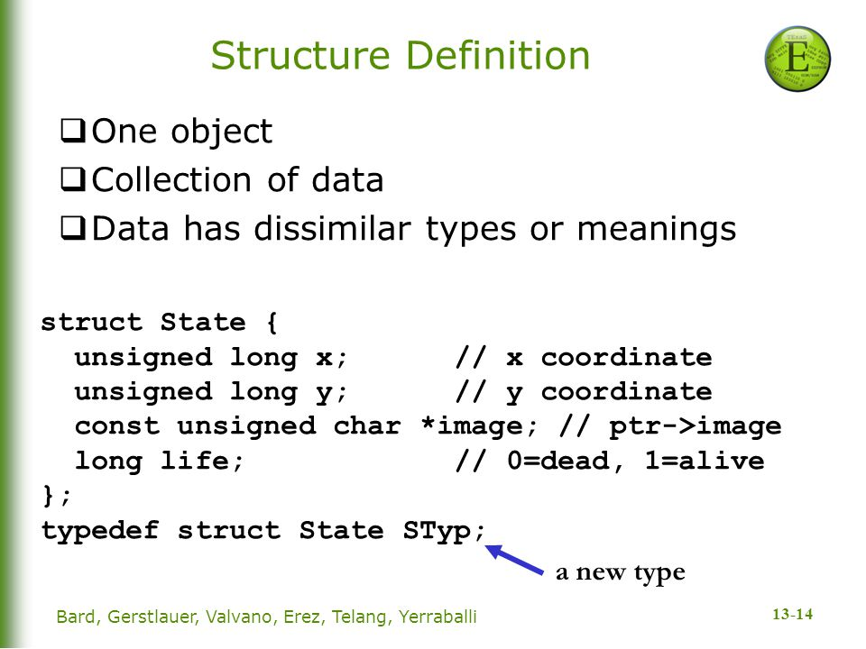13-14 Structure Definition  One object  Collection of data  Data has dissimilar types or meanings struct State { unsigned long x; // x coordinate unsigned long y; // y coordinate const unsigned char *image; // ptr->image long life; // 0=dead, 1=alive }; typedef struct State STyp; a new type Bard, Gerstlauer, Valvano, Erez, Telang, Yerraballi