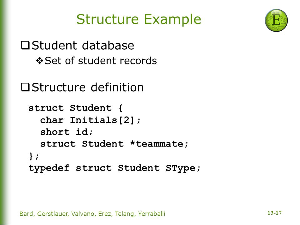 13-17 Structure Example  Student database  Set of student records  Structure definition struct Student { char Initials[2]; short id; struct Student