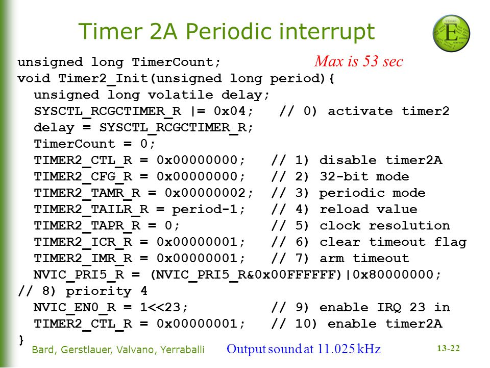 13-22 Timer 2A Periodic interrupt unsigned long TimerCount; void Timer2_Init(unsigned long period){ unsigned long volatile delay; SYSCTL_RCGCTIMER_R |