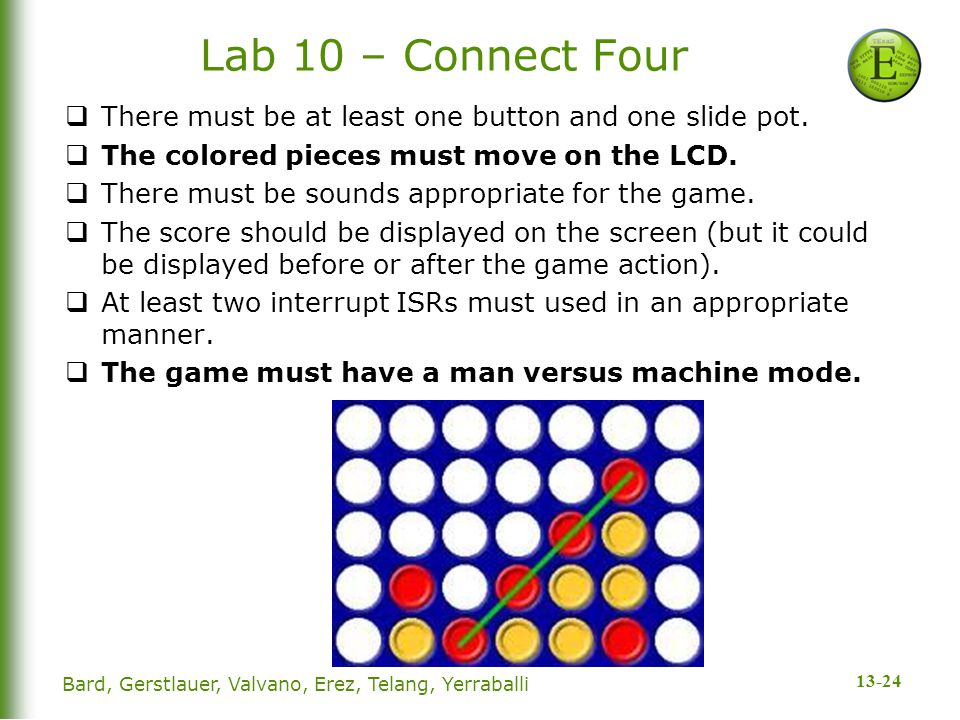 13-24 Lab 10 – Connect Four  There must be at least one button and one slide pot.