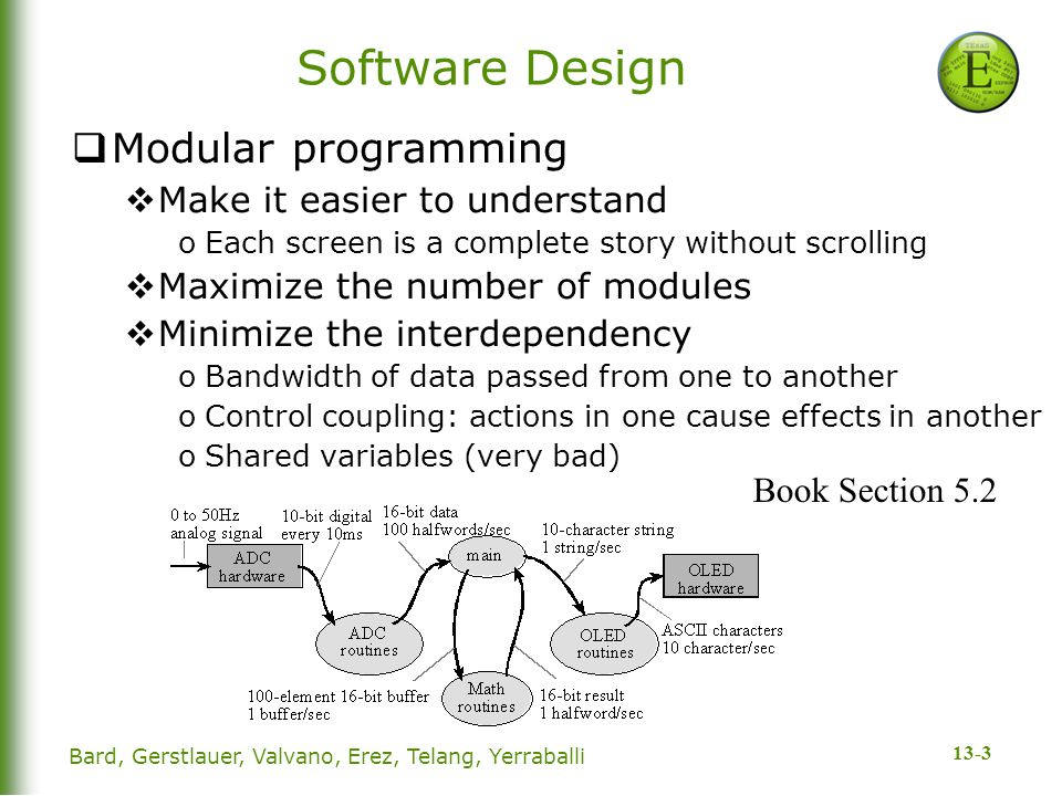 13-3 Software Design  Modular programming  Make it easier to understand oEach screen is a complete story without scrolling  Maximize the number of modules  Minimize the interdependency oBandwidth of data passed from one to another oControl coupling: actions in one cause effects in another oShared variables (very bad) Book Section 5.2 Bard, Gerstlauer, Valvano, Erez, Telang, Yerraballi