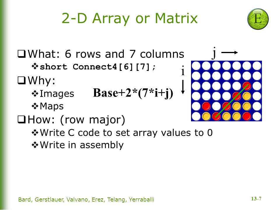 13-7 2-D Array or Matrix  What: 6 rows and 7 columns  short Connect4[6][7];  Why:  Images  Maps  How: (row major)  Write C code to set array values to 0  Write in assembly Base+2*(7*i+j) Bard, Gerstlauer, Valvano, Erez, Telang, Yerraballi j i