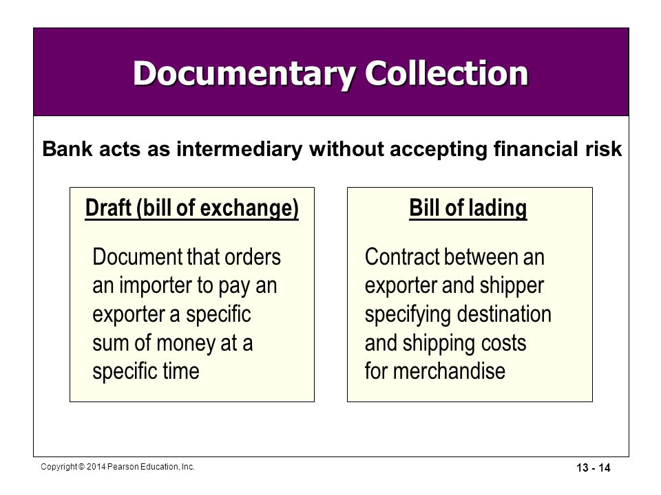 13 - 14 Copyright © 2014 Pearson Education, Inc. Documentary Collection Bank acts as intermediary without accepting financial risk Draft (bill of exch