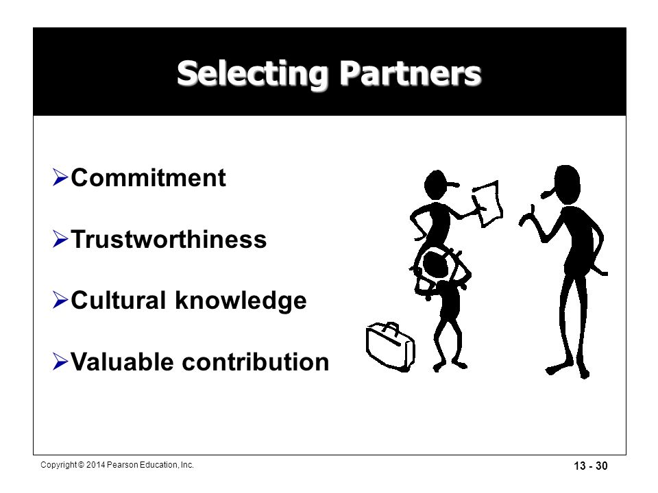 13 - 30 Copyright © 2014 Pearson Education, Inc. Selecting Partners  Commitment  Trustworthiness  Cultural knowledge  Valuable contribution