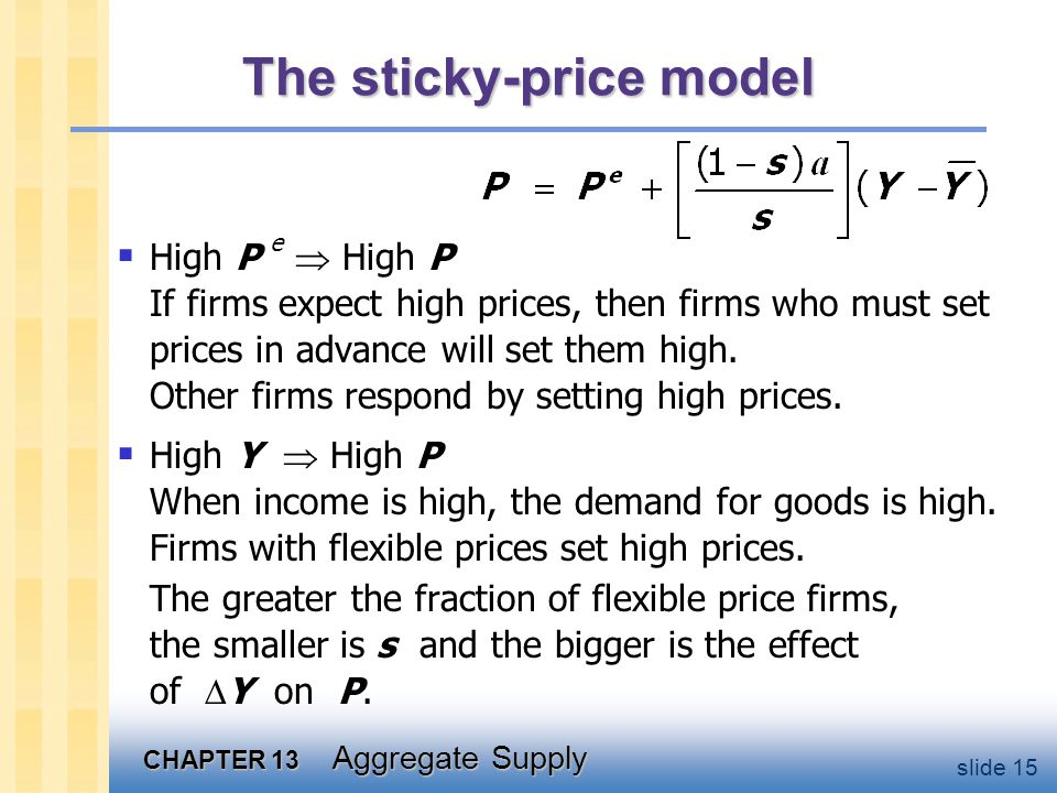 CHAPTER 13 Aggregate Supply slide 15 The sticky-price model  High P e  High P If firms expect high prices, then firms who must set prices in advance will set them high.