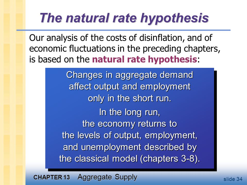 CHAPTER 13 Aggregate Supply slide 34 The natural rate hypothesis Our analysis of the costs of disinflation, and of economic fluctuations in the preceding chapters, is based on the natural rate hypothesis: Changes in aggregate demand affect output and employment only in the short run.