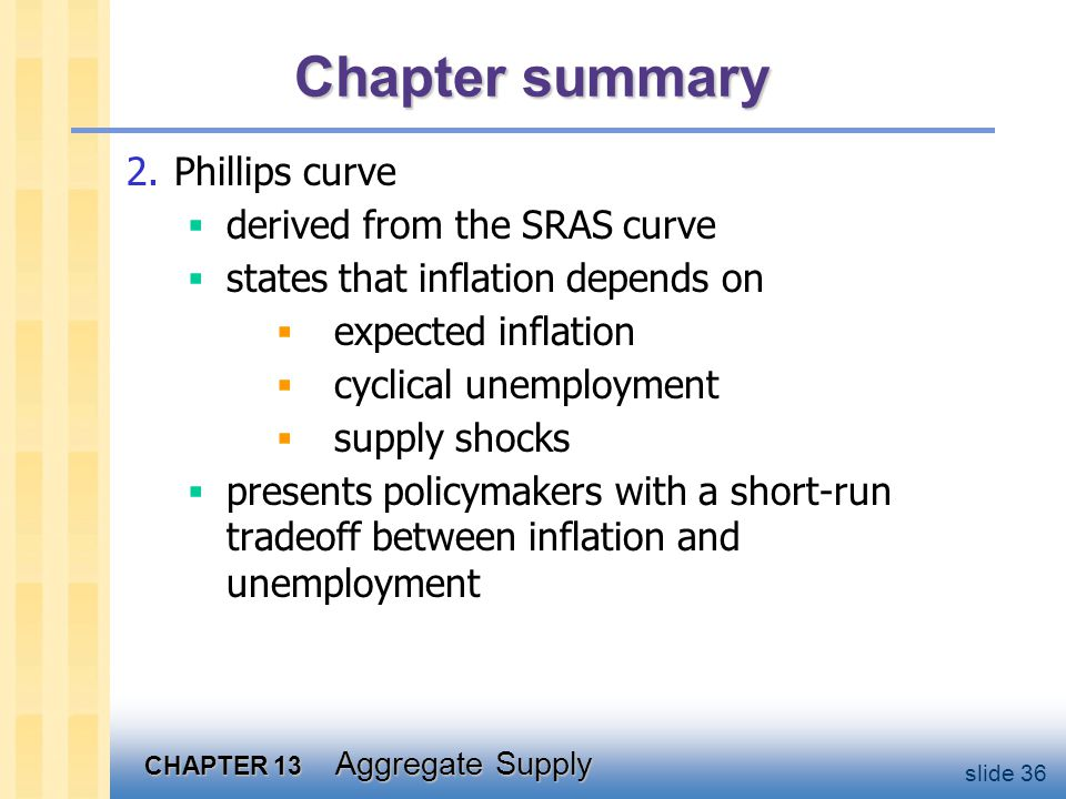 CHAPTER 13 Aggregate Supply slide 36 Chapter summary 2.Phillips curve  derived from the SRAS curve  states that inflation depends on  expected inflation  cyclical unemployment  supply shocks  presents policymakers with a short-run tradeoff between inflation and unemployment