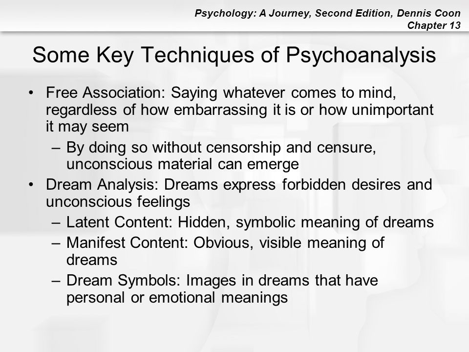 Psychology: A Journey, Second Edition, Dennis Coon Chapter 13 Desensitization Hierarchy: Rank-ordered series of steps, amounts, or degrees Reciprocal Inhibition: One emotional state is used to block another (e.g., impossible to be anxious and relaxed at the same time) Systematic Desensitization: Guided reduction in fear, anxiety, or aversion; attained by approaching a feared stimulus gradually while maintaining relaxation –Best used to treat phobias: intense, unrealistic fears