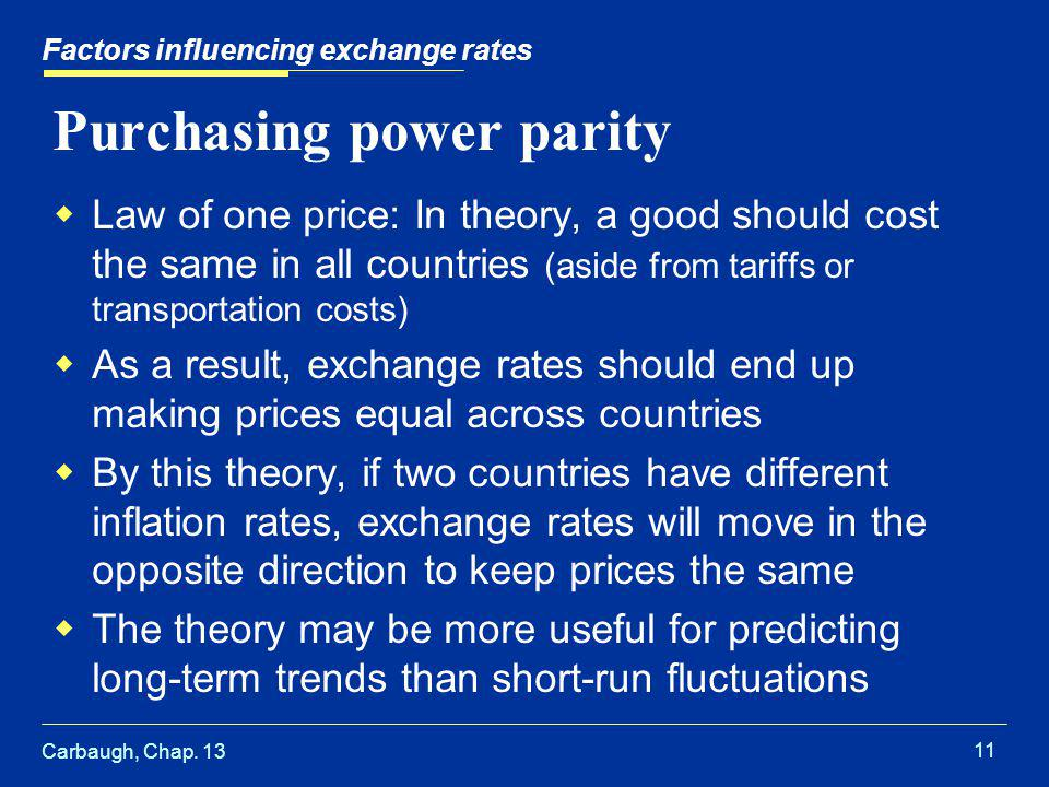 Carbaugh, Chap. 13 11 Factors influencing exchange rates Purchasing power parity  Law of one price: In theory, a good should cost the same in all cou
