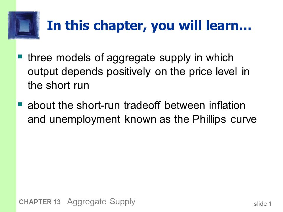 slide 2 CHAPTER 13 Aggregate Supply Three models of aggregate supply 1.The sticky-wage model 2.The imperfect-information model 3.The sticky-price model All three models imply: natural rate of output a positive parameter the expected price level the actual price level agg.