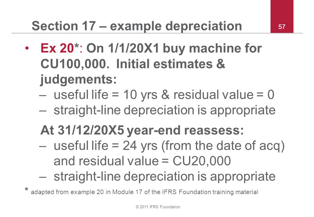© 2011 IFRS Foundation 57 Section 17 – example depreciation Ex 20*: On 1/1/20X1 buy machine for CU100,000.