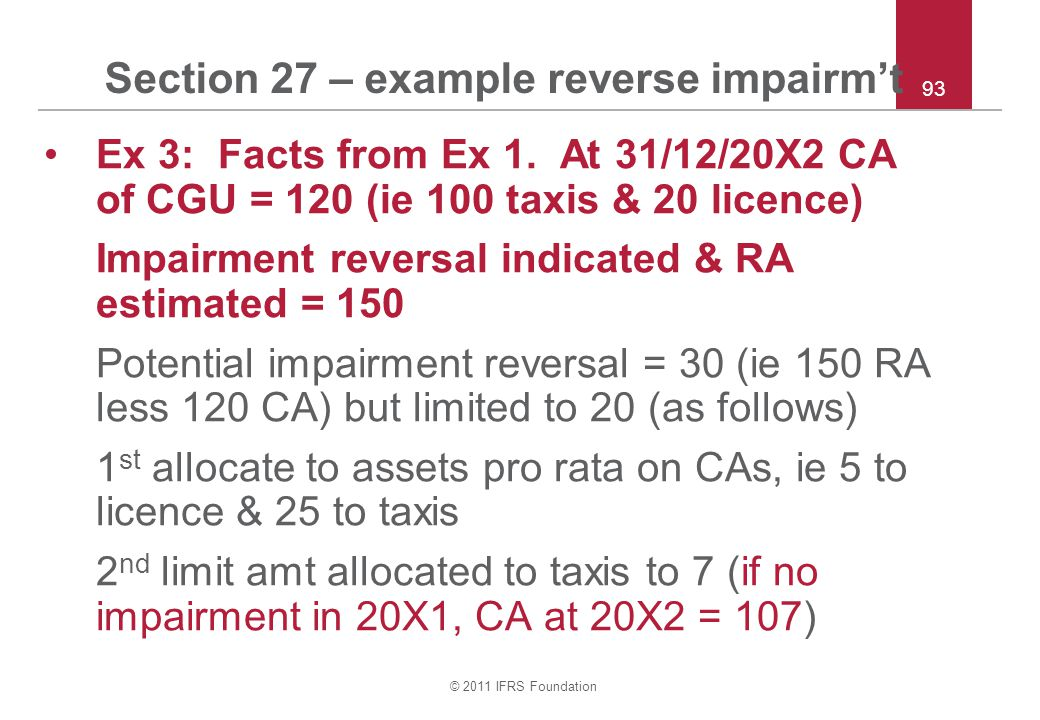 © 2011 IFRS Foundation 93 Section 27 – example reverse impairm't Ex 3: Facts from Ex 1.