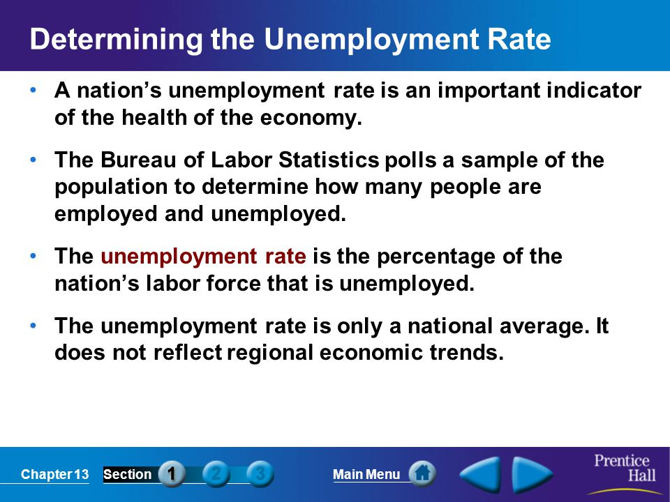 Chapter 13SectionMain Menu Determining the Unemployment Rate A nation's unemployment rate is an important indicator of the health of the economy. The