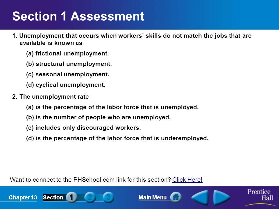 Chapter 13SectionMain Menu Want to connect to the PHSchool.com link for this section? Click Here!Click Here! Section 1 Assessment 1. Unemployment that