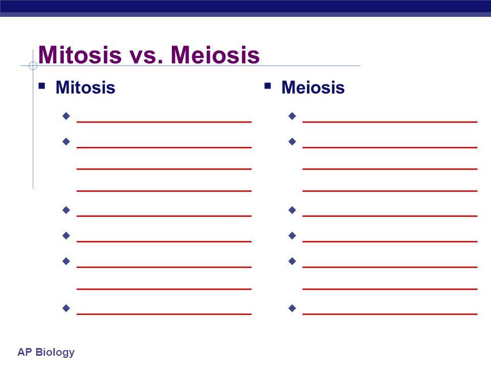 AP Biology Mitosis vs. Meiosis