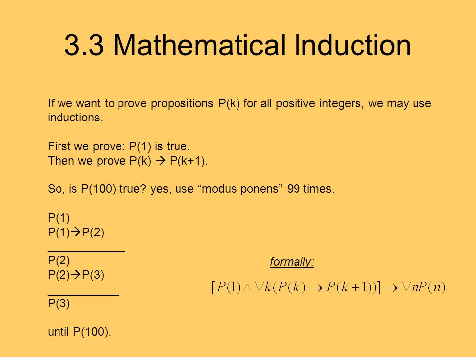 3.3 Mathematical Induction If we want to prove propositions P(k) for all positive integers, we may use inductions.